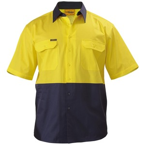 2 Tone Hi Vis Cool Lightweight Drill Shirt - S/S