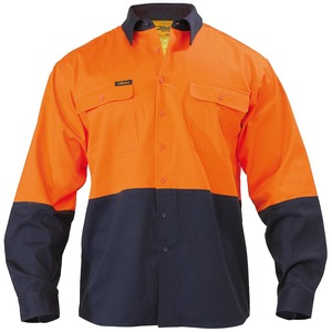 2 Tone Hi Vis Drill Shirt - Long Sleeve