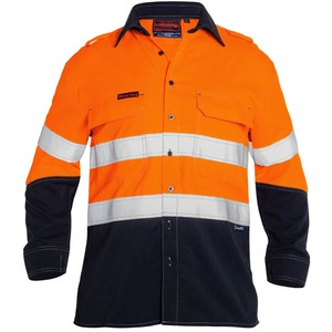 Tencate Tecasafe® Plus 580 Taped Hi Vis  Lightweight FR Vented Shirt - Long Sleeve