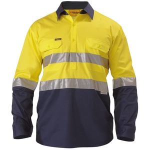 3M Taped Closed FRont Cool Lightweight Hi Vis Shirt - Long Sleeve