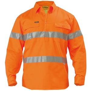 3M Taped Closed FRont Hi Vis Drill Shirt - Long Sleeve