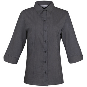 Henley Striped 3/4 Sleeve Shirt - Ladies