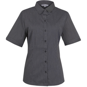 Henley Striped Short Sleeve Shirt - Ladies
