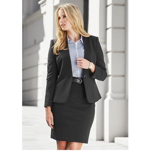 Single Button Ladies Collarless Jacket