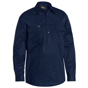 Closed FRont Cool Lightweight Drill Shirt - Long Sleeve