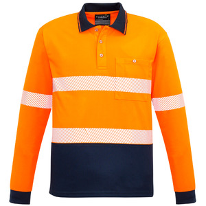 Unisex Hi Vis Segmented L/S Polo - Hoop Taped