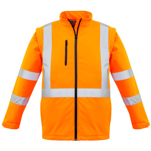 Unisex Hi Vis X Back 2 In 1 Soft Shell Rain Jacket