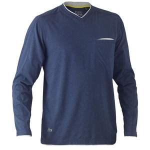 Flex & Move™ Cotton V Neck Tee - Long Sleeve