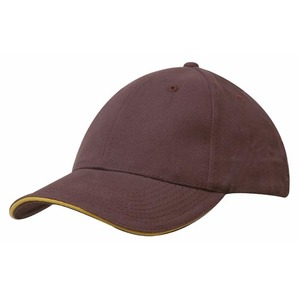 6PNL Brushed Heavy Cotton Cap w/- Sandwich Peak Trim